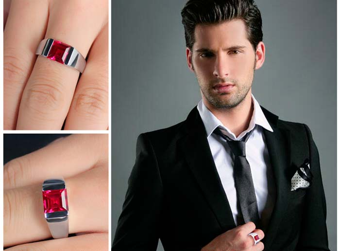 кольцо с рубином у мужчины