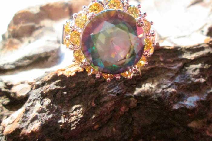 кольцо с радужным топазом