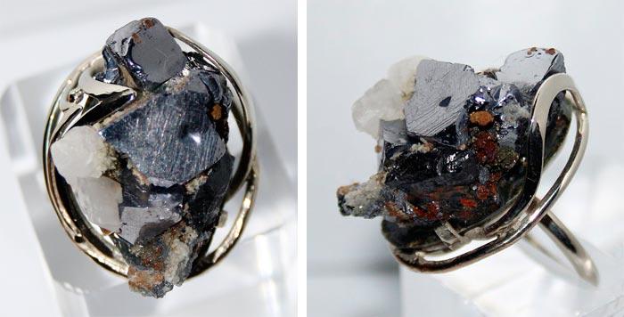 кольцо с галенитом